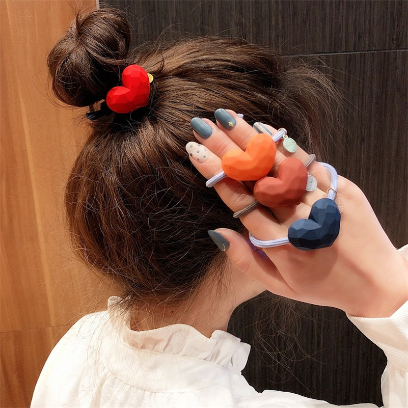 Cute Korean Scrub Heart Elastic Hair Bands Simple Heart Hair Ties For Women Girls Scrunchies Ponytail Holder Hair Accessories