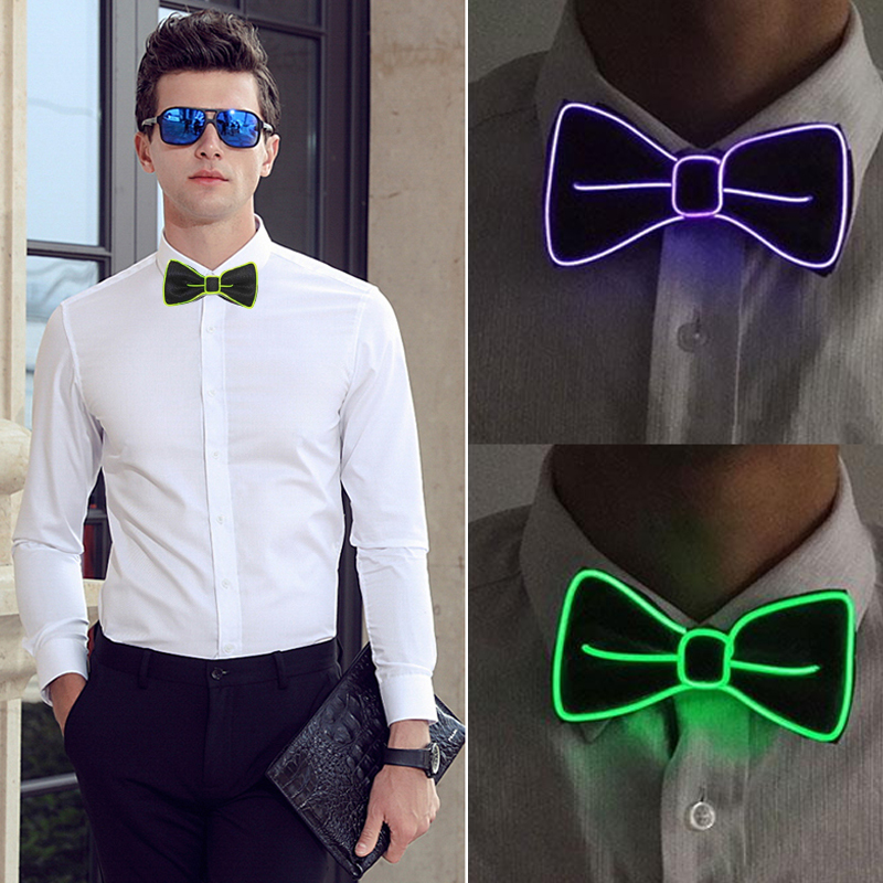 Bow Tie Necktie Jewelry Dance Christmas Bowtie Evening Show Accessories Party LED Luminous Polyester Silk Gift Gentleman Men