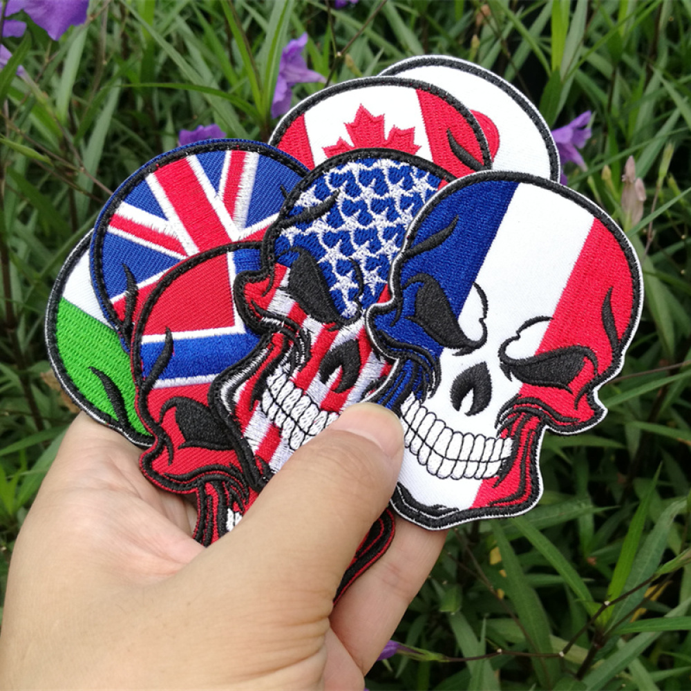Hook And Loop Faste Armband Bag Decoration 9*6CM Cartoon Skull Cloth Patch Hook Hair Velcro Skull Flag Embroidery Magic Stickers