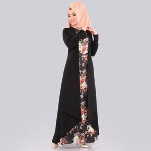 Image 5 - Abaya robe Hijab pour femmes, ensemble deux pièces, tissu islamique arabe, imprimé Floral, Folk, personnalisé, robes Maxi, Slim, Dubai, Kaftan