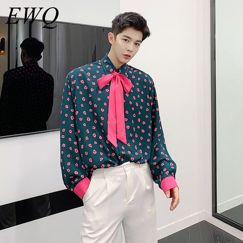 EWQ / Men's Wear 2020 Spring Summer Vintage Color Block Flower Printting Design Loose Shirt For Men And Women Long Sleeve 9Y1036
