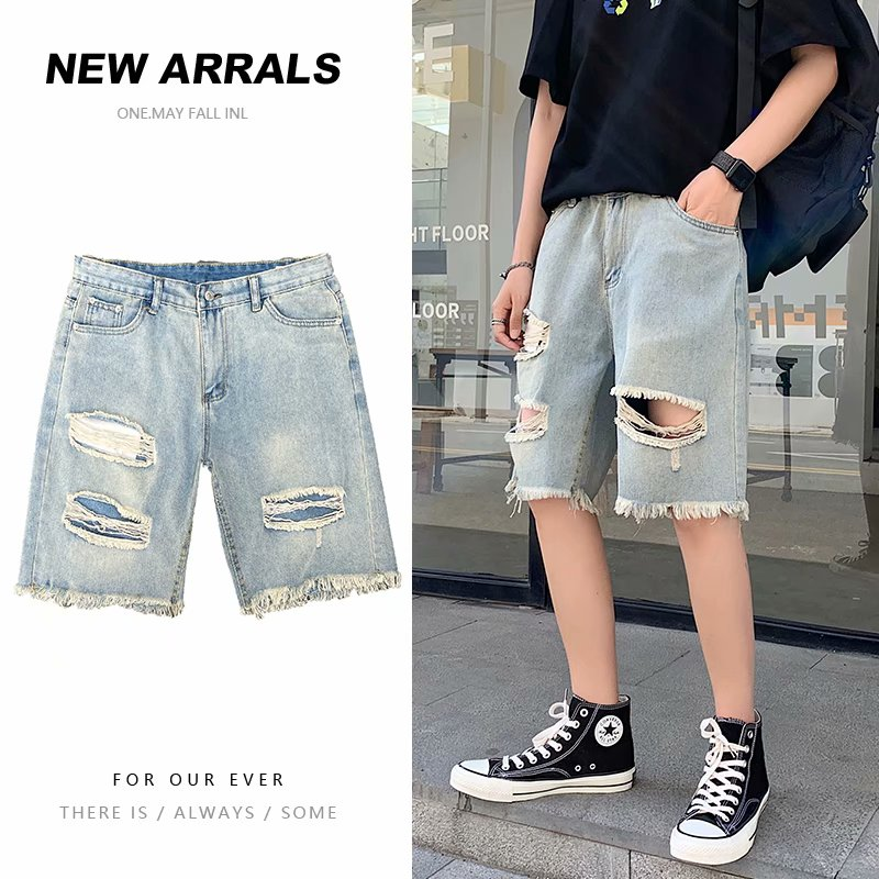 BXyichen summer new hole denim shorts Korean version of the trend loose loose five-point pants Hong Kong trendy brand pants