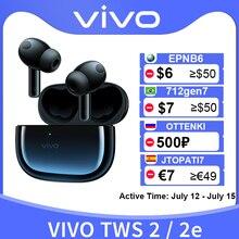 Vivo TWS 2 2e Fone de ouvido sem fio Bluetooth 5.2 Fones de ouvido 12,2 mm Driver DeepX 2.0 com cancelamento de ruído de microfone para Vivo X60 Pro X50 S9 S9e