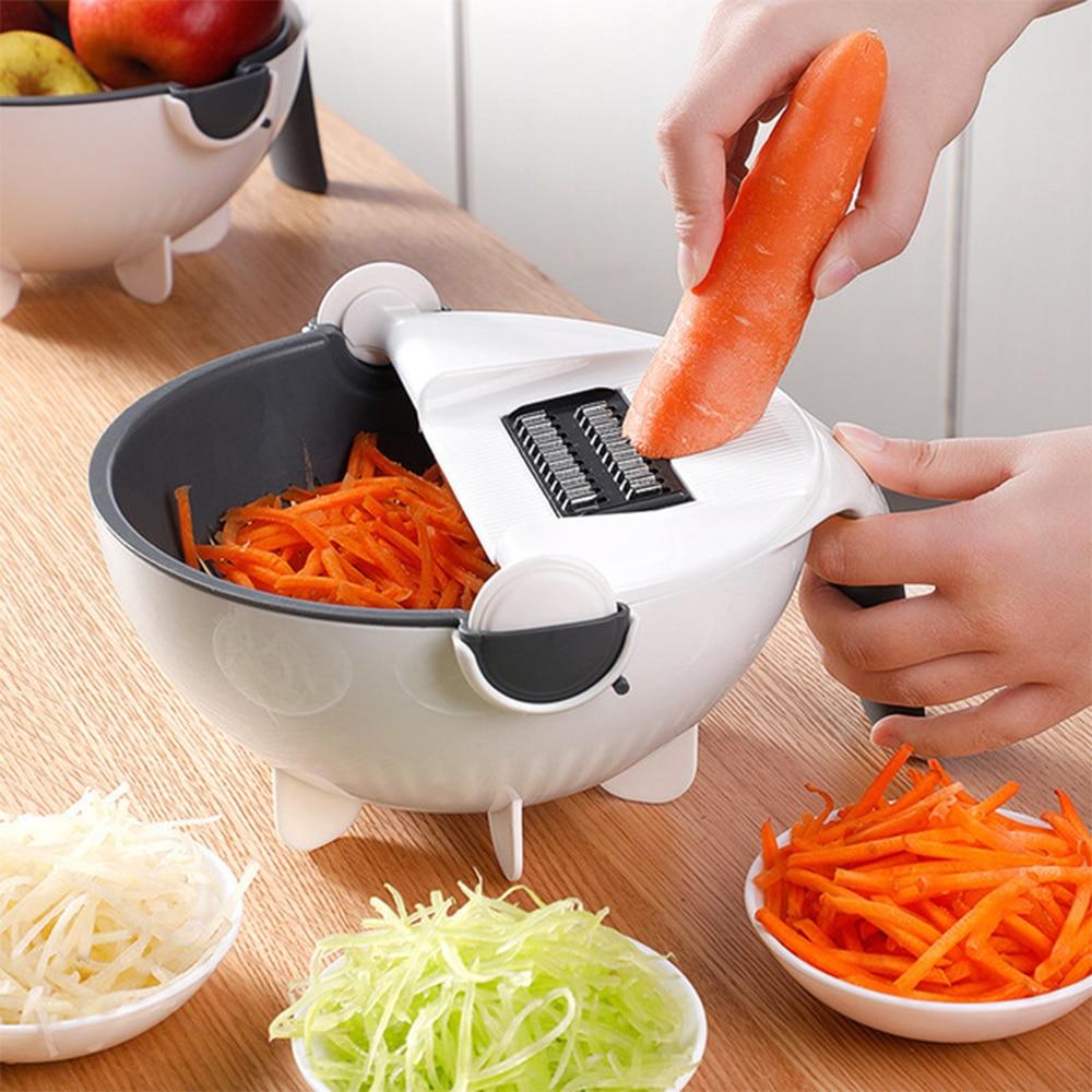 Multifunctional Vegetable Slicer Household Shredder Chip Grater Chopper Kitchen Tools Gadgets Vegetable Cutter Draining Basket