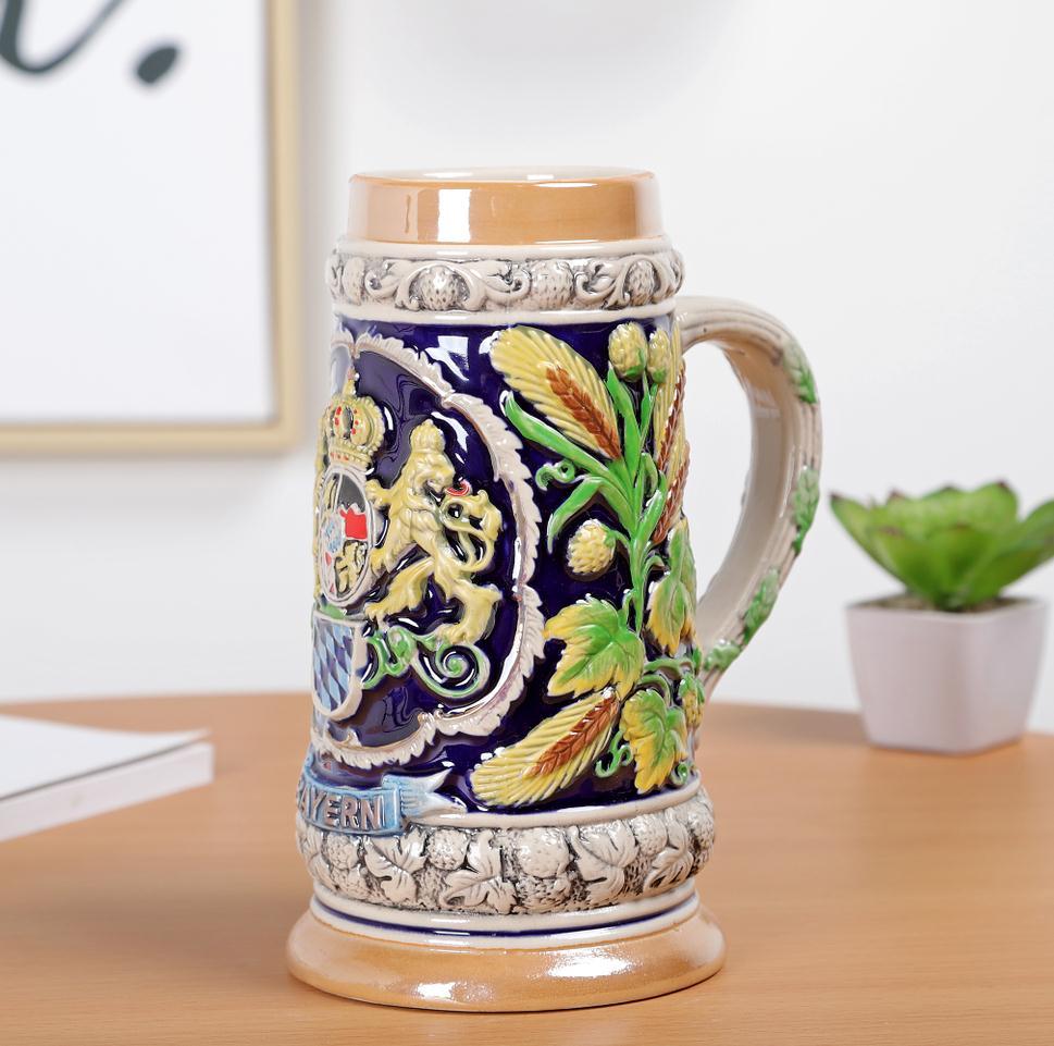 Скандинавском стиле Дворцовая керамическая рельефная чашка для воды винтажная креативная пивная чашка из нержавеющей стали Кружки Кофейн... - 5