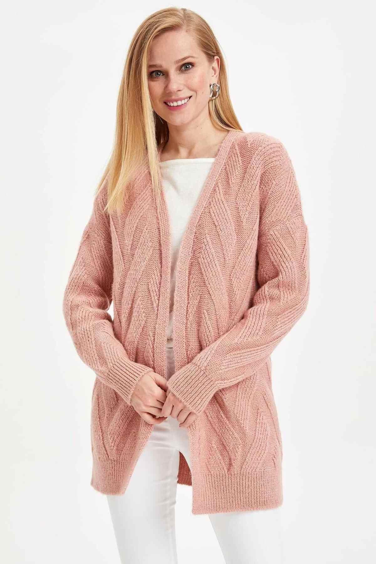 DeFacto femme automne blanc rose doux Cardigan femmes tricoté à manches longues manteaux femme haut Cloth-I7711AZ19WN