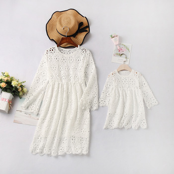 2019 mother daughter dresses solid for mommy and me clothes family look mom baby elegant dress matching outfits summer Polyester 1
