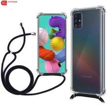 Funda con cordón para Samsung Galaxy S20 Ultra S10 S9 Note 10 Plus A71 A51 A91 A81 A01 A21 A31 A41 A70 A50