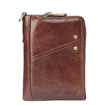 2019 Men Multifunction Genuine Leather Wallets Fashion short Design Double Zipper Card Holder High Quality Men Coin Purse genuine cow leather men wallets rfid double zipper card holder high quality male wallets purse vintage coin holder men wallets