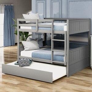 Litera completa con cama doble con marco de escalera gris más nuevo