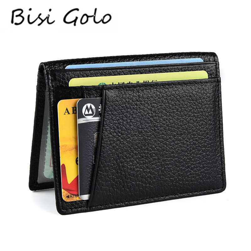 Bisi Goro 2020 Rfid Zwarte Portemonnee Credit Kaarthouder Koe Lederen Unisex Card Wallet Hoge Kwaliteit Casual Purse Slim Mini money Bag