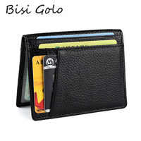 BISI GORO 2020 RFID Black Wallet Credit Card Holder Cow Leather Unisex Card Wallet High Quality Casual Purse Slim Mini Money Bag