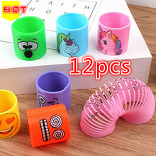12 Pcs New Party Gifts Childrens Toy Parties Birthday Unicorn Face Coil Spring Happy Creative