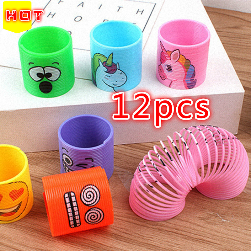12 Pcs New Party Gifts Children's Toy Parties Children's Birthday Gifts Unicorn Face Coil Spring Birthday Happy Creative Gifts
