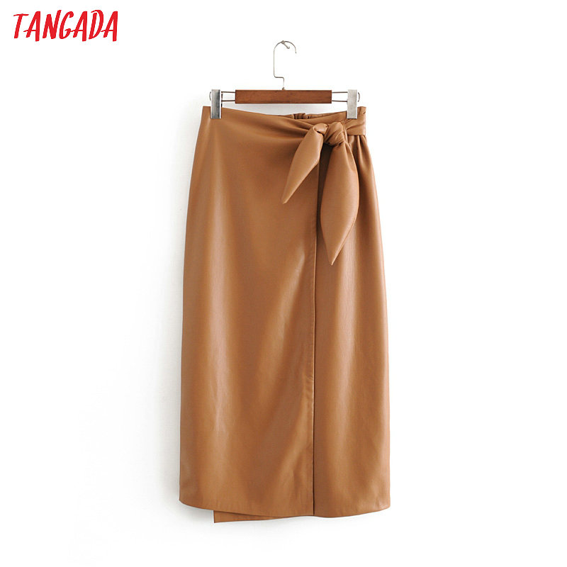 Tangada Women Khaki Faux Leather Skirts Faldas Mujer Bow Stretch Waist Female Elgant Office Lady Midi Skirt 3H262