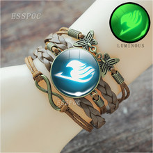 bronze weave luminous Bangle Bracelet Fairy Tail Bracelet Guild Logo Glass Cabochon Anime Jewelry Gift for Anime Cosplay jewelry(China)