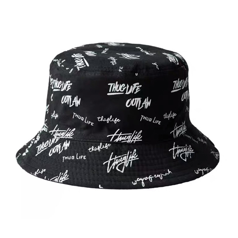 Style Basin Hat Cotton Fisherman Unisex  Fashion Bucket Summer Short Brim For Men Women Teens Double Side Pattern Printing