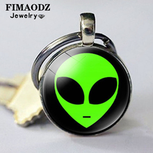 Bag Pendant Alien-Head Key-Chain-Ring Glass Gift Cartoon Fashion Children FIMAODZ Photo-Alloy