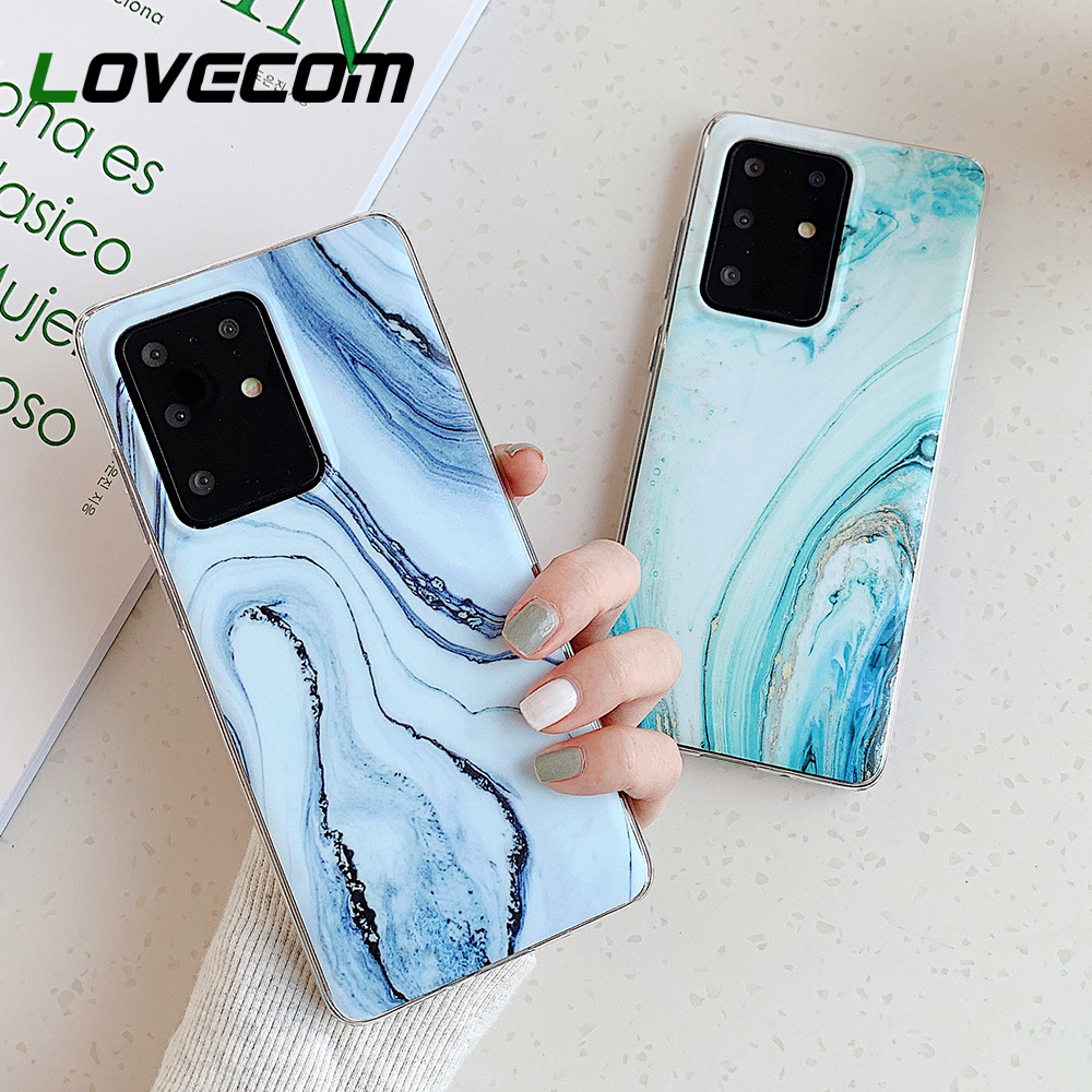Vintage Marble Phone Case For Samsung Galaxy S20 S10 S8 S9 Plus A50 A51 A70 A71 Note 10 Pro Soft IMD Matte Back Cover