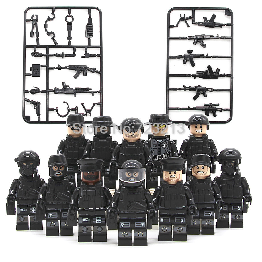 12pcs/lot Military SWAT Teams Figure Set City Police Weapon Model Building Blocks Kits Brick Toys For Children JY1620 Legoing
