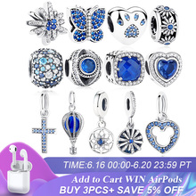 ELESHE Authentic 925 Sterling Silver Beads Blue Crystal Pet Paw Heart Star Daisy Charm Fit Original Bracelet DIY Jewelry