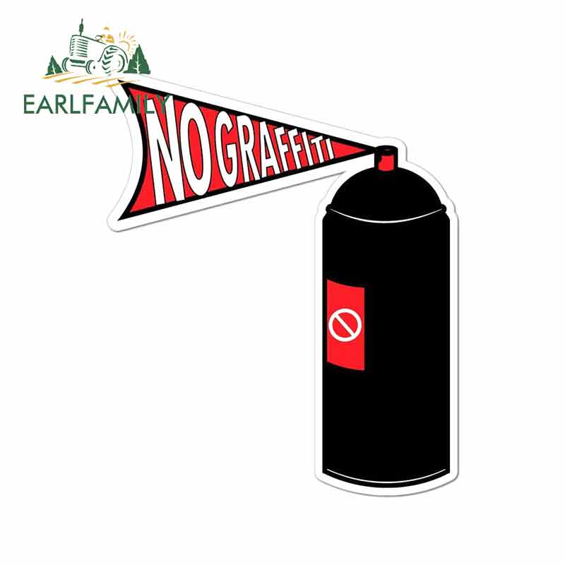 EARLFAMILY 13cm X 10.8cm For No Graffiti Stop Spray Can Paint Vinyl Decal Sticker Waterproof Personality Car Creative Stickers