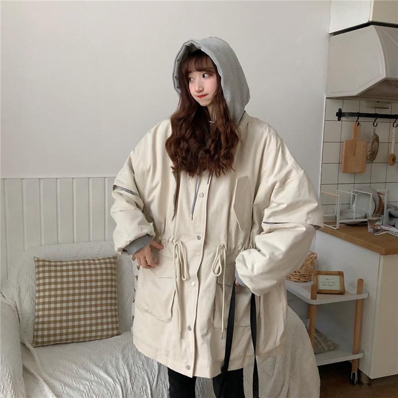 Timis Li Spring&Autumn Coat Women Extreme Oversize Hooded Jacket Coat Harakuju Thick Women Female Outwear Jackets Coats