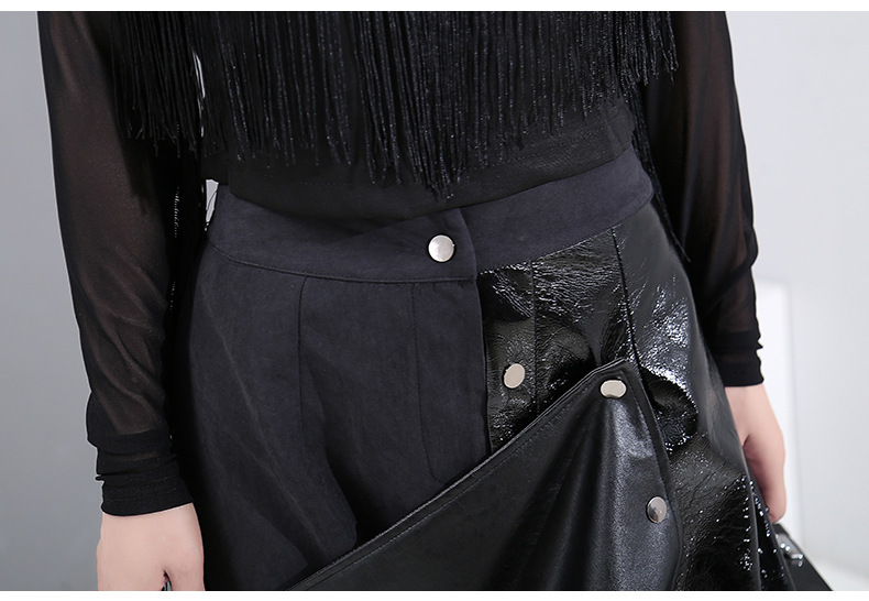 New Fashion Style High Elastic Waist Black Pu Leather Split Temperament Skirt Fashion Nova Clothing