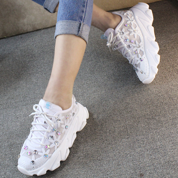 Rhinestone Wedge Sneakers Women Trainers Dames Chunky Sneaker Platform 2020 White Sneaker Casual Shoes Woman chaussures femme 6