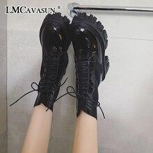 LMCAVASUN Women winter Boots Thicken Non-slip Zip Girl Leather Shoes boots women botas mujer Martin boots