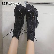 LMCAVASUN Women winter Boots Thicken Non-slip Zip Girl Leather Shoes