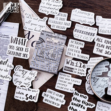 45pcs/Box Retro English Newspaper Decorative Adhesive Stickers Scrapbooking DIY Diary Stick Label Bullet Journal Stationery