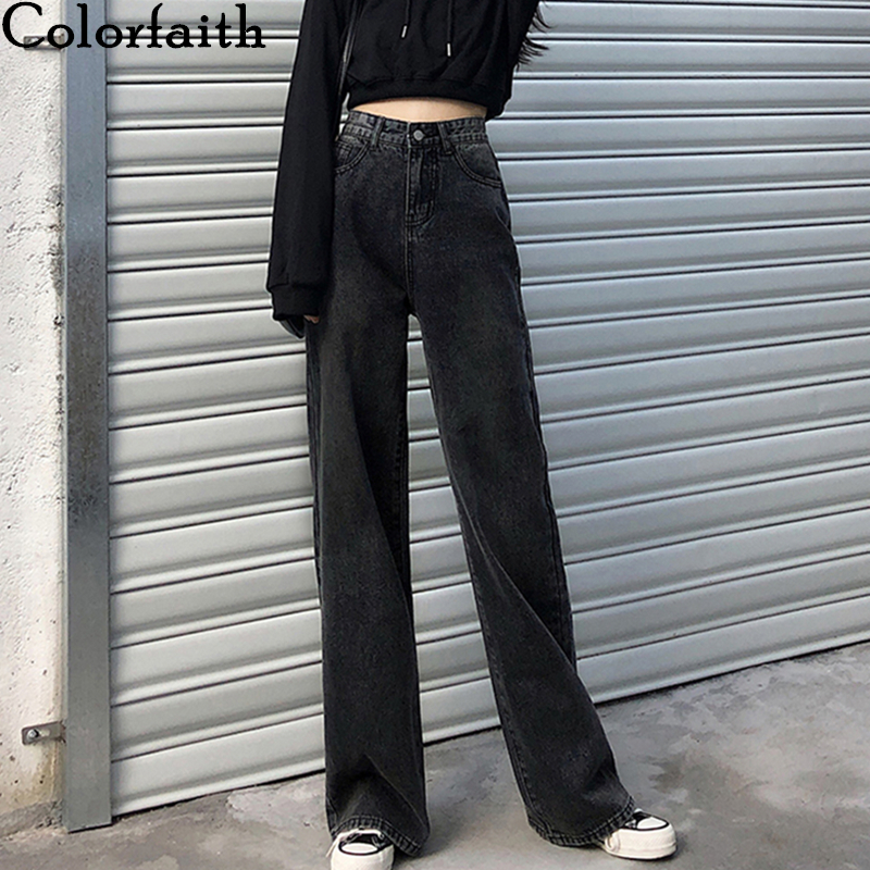 Colorfaith New 2020 Women Summer Wide Leg Jeans Casual Straight High Waist Trousers Pants Female Denim Empire Full-Length J477