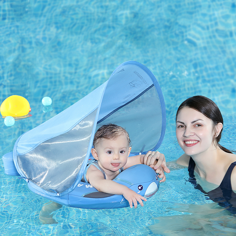 New Available No Inflation Baby Swimming Ring Float With Canopy Sun Protection Children Waist Top Baby Swim Trainer