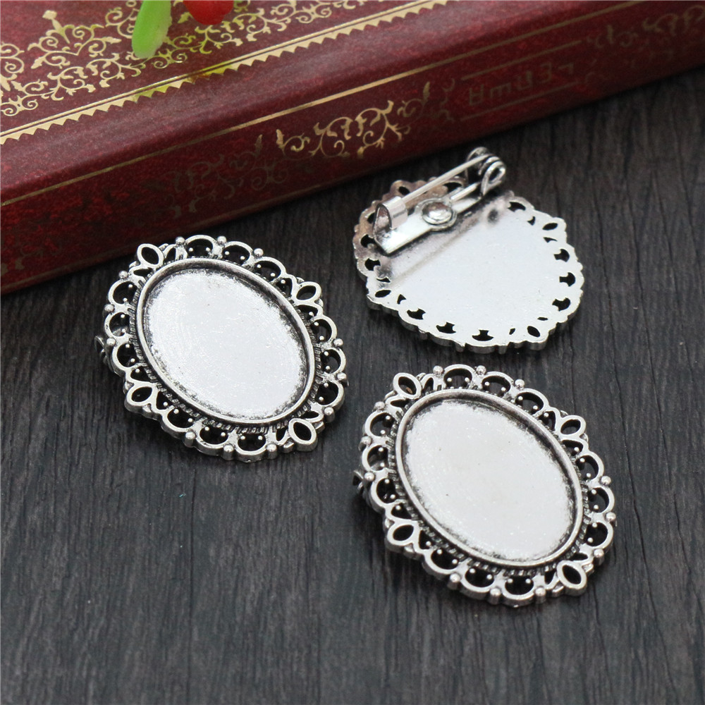 8pcs 13x18mm Inner Size Antique Silver Plated Brooch Classic Cameo Cabochon Base Setting Pendant Necklace Findings  (D4-41)