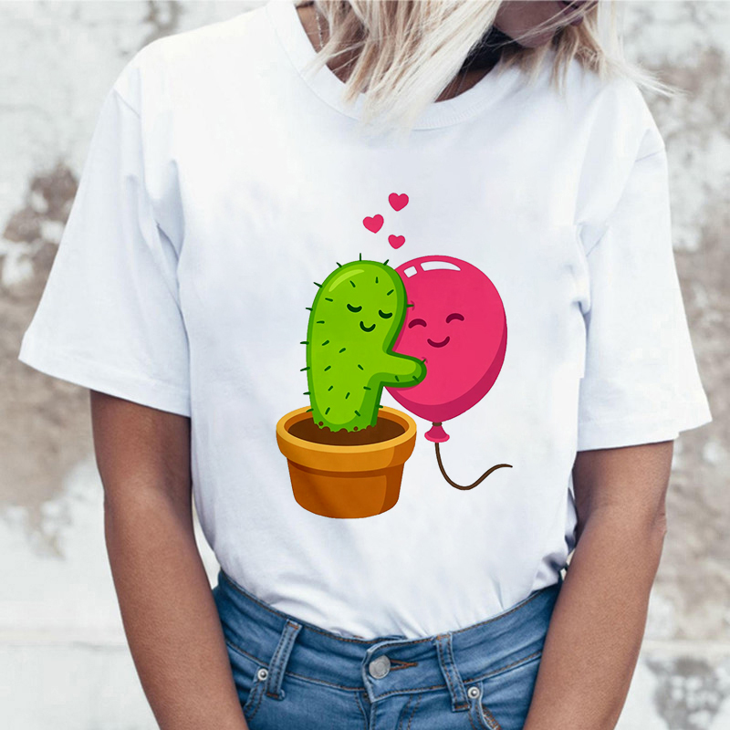 Cactus Balloon Print T Shirt Women Fashion Harajuku Short Sleeve T-shirt White Plus Size Personality Tshirt Female Tops Clothing
