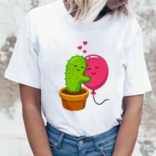 Cactus balloon print t shirt women fashion Harajuku Short Sleeve t-shirt White plus size personality