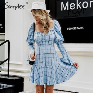 Image 4 - Simplee Vintage plaid women dress Elegant square collar long puff sleeve ladies autumn mini dress Sexy ruffle A line party dress
