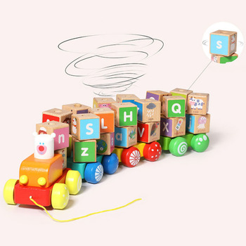 26 Letters Small Train Wooden Toys Children Puzzle Cognitive Magnetic Letters Car Early Education Puzzle Train Toys Gifts zhenwei magnetic thomas train wooden track car children s puzzle early learning toy cake decoration diecast train action figure