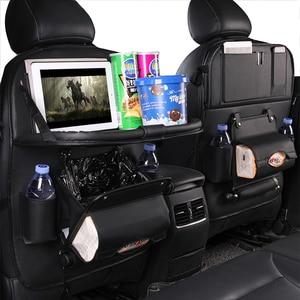 Image 5 - Pu Leder Pad Tasche Auto Sitz Organizer Faltbare Tisch Tablett Reise Lagerung Tasche Faltbare Esstisch Auto Sitz Lagerung Tasche