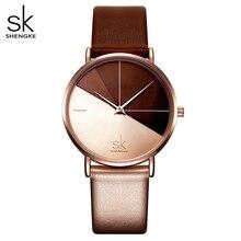 SHENGKE – Montre vintage pour femmes, accessoire de mode avec bracelet en cuir, cadran décor irrégulier, Bayan Kol Saati