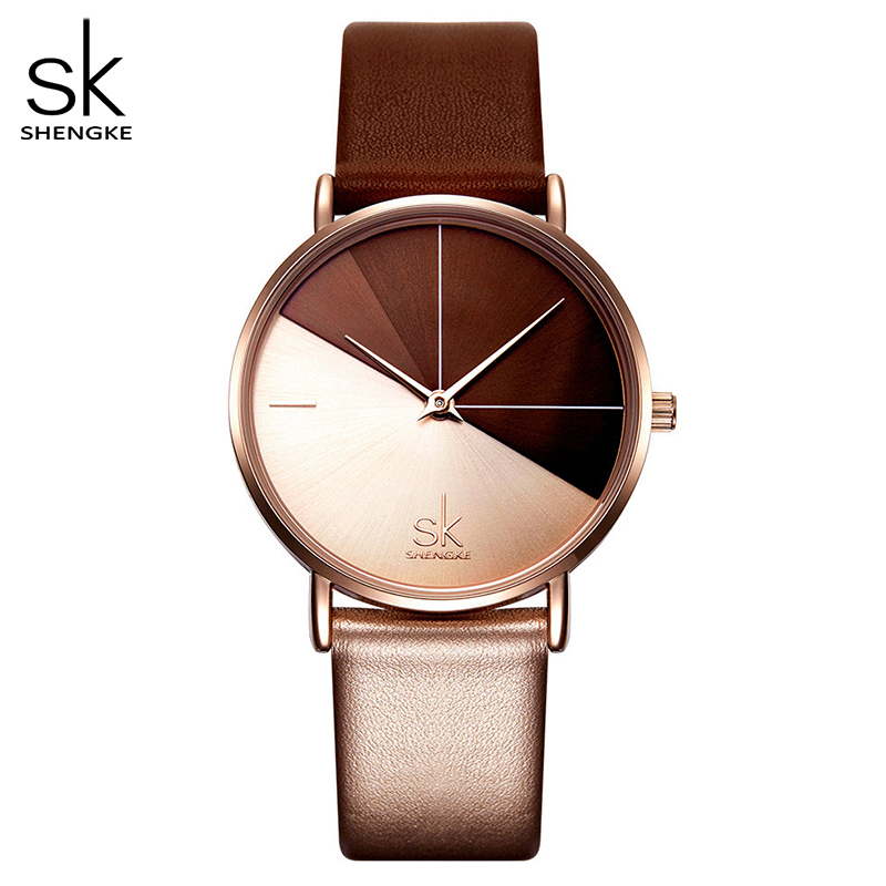 Shengke Women's Watches Fashion Leather Wrist Watch Vintage Ladies Watch Irregular Clock Mujer Bayan Kol Saati Montre Feminino