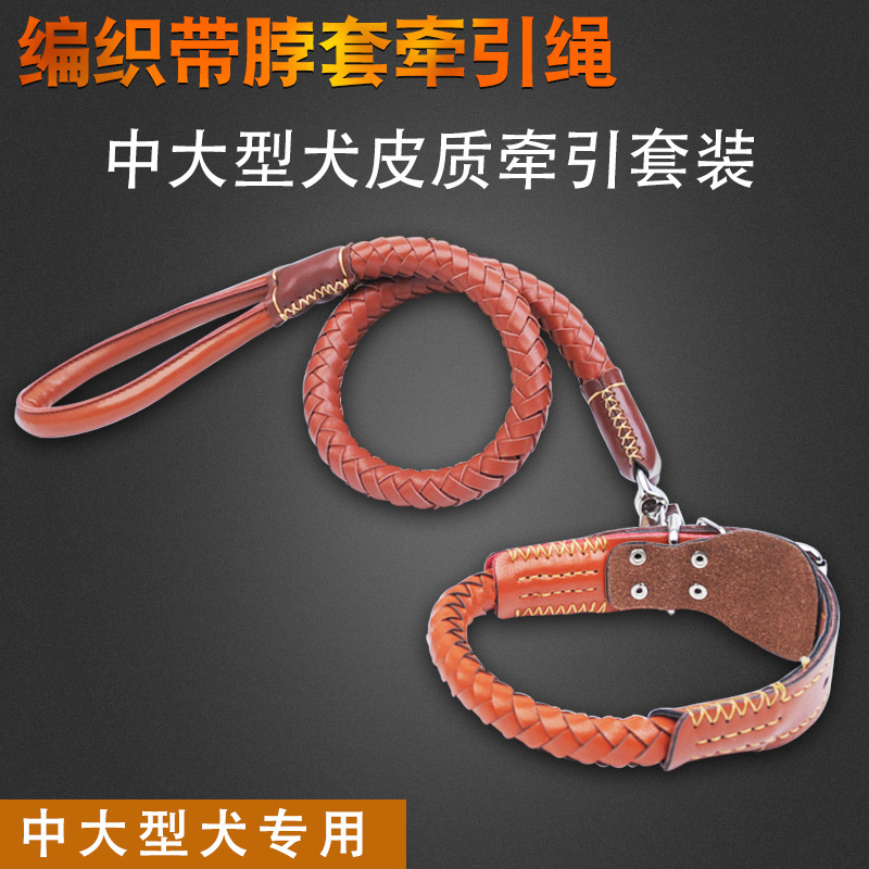 Two-Stage Model Pippi Weaving Traction Belt Imitation Leather Pet Traction Medium Large Dog Dog Rope