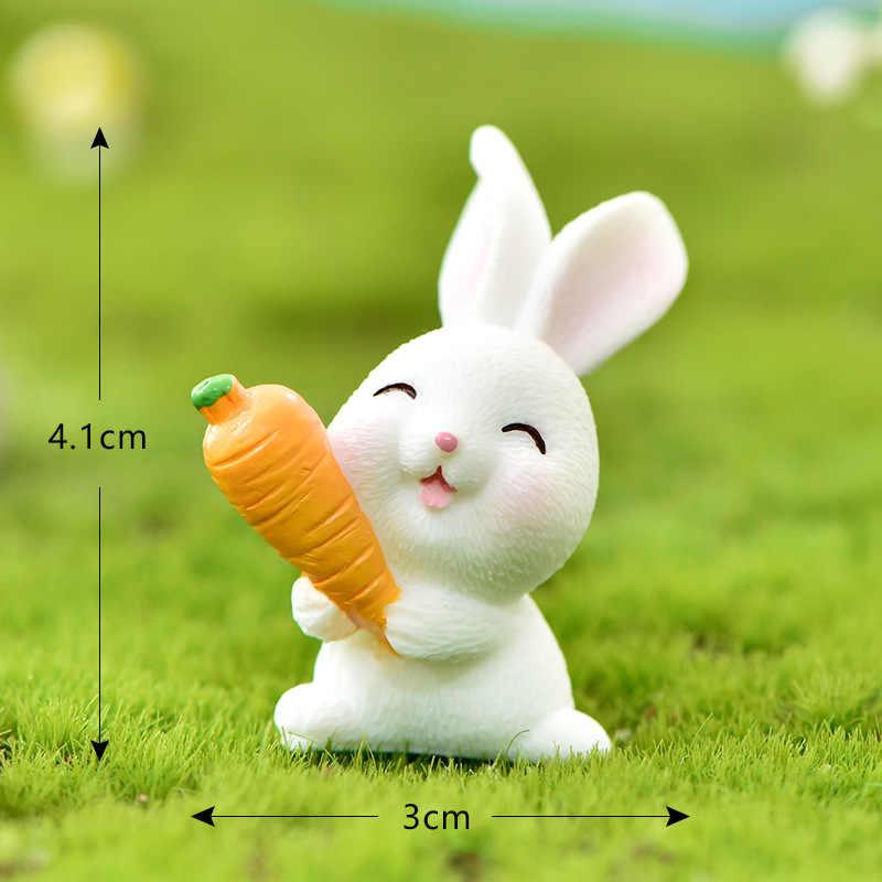 Miniaturas coelho lebre páscoa animal estatueta resina artesanato mini coelho casa decoração do bolo acessórios escritório fada jardim