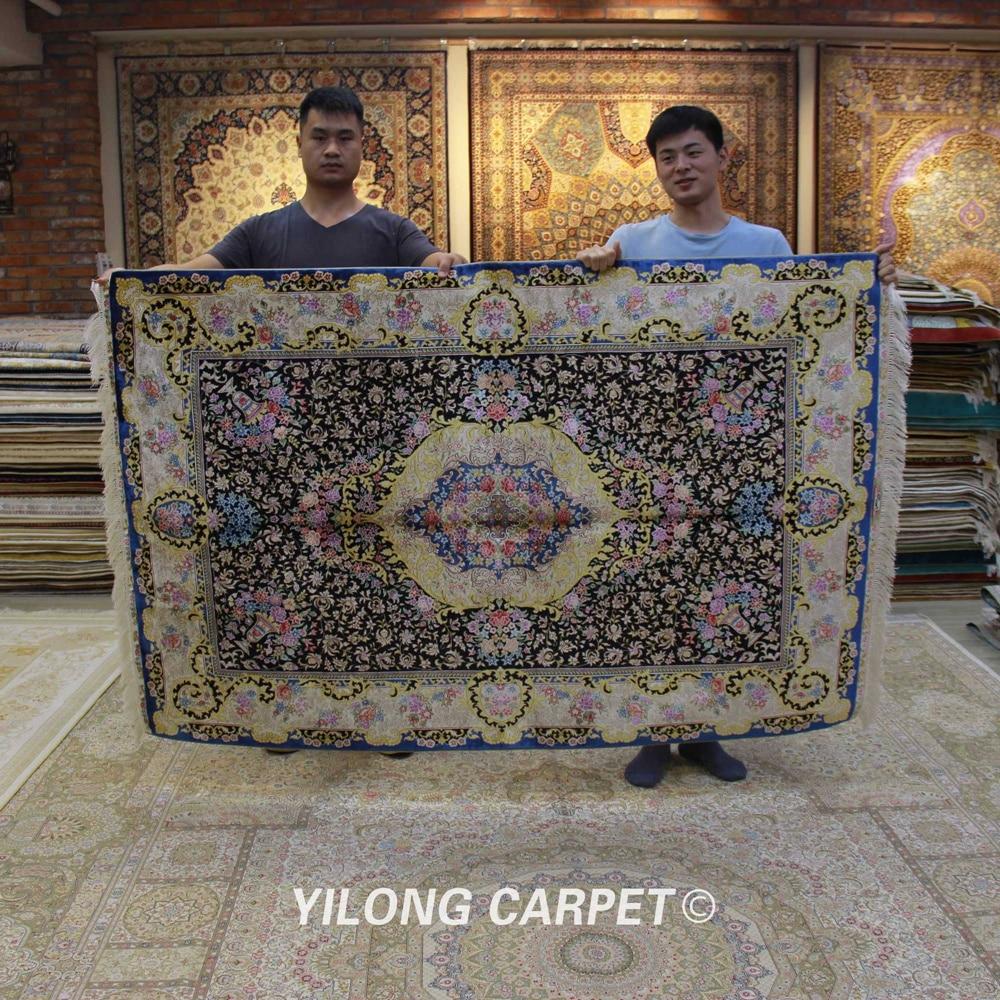 Yilong 4'x6' Blue Pure Silk Carpet Luxury Hand Knotted High Quality Handmade Carpet (ZQG318A)