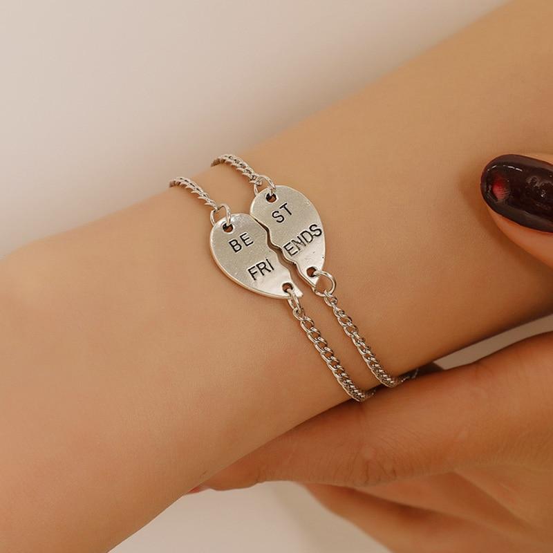2 шт./компл., модная подвеска для лучших друзей, браслеты для женщин, девушек, головоломка, сердце, браслеты, дружба, ForeverJewelry, подарок
