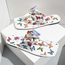 2021 Summer Women's Crystal Flip Flops Slippers Butterfly Fashion Rubber Sole Fashion New Outdoor Women's Shoes Plus Size 42