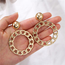 European fashion woven circle ears for INS cold wind metal earrings web celebrity with the same earrings stud women