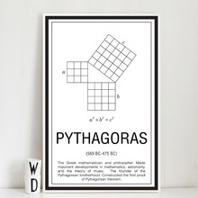 Math Wall Art Poster Abstract Black and White Maths Education Canvas Painting Mathematicians Pythagoras Decoration Print Picture(China)