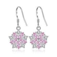New Sale fashion jewelry droplets silver dangle flower feature pink crystal wedding earrings Rhinestone girl